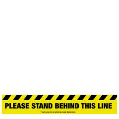Anti-Slip Vinyl Please Stand Behind This Line Floor Graphic 600x100mm