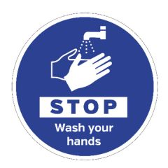 STOP Wash Your Hands Floor Graphic 400mm Diameter