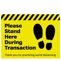Anti-Slip Vinyl Please Stand Here During Transaction Floor Graphic 400x300mm