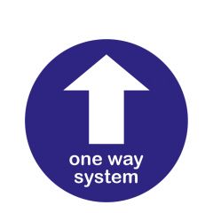 Anti-Slip 'One Way System' Blue with Arrow Floor Sticker 300mm Diameter