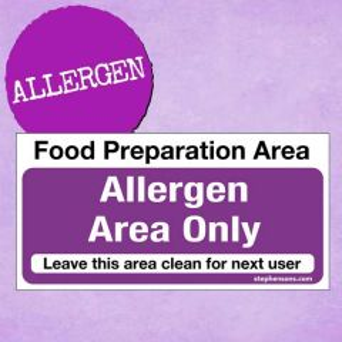 Allergen Only Food Preparation Area Sticker 10x20cm