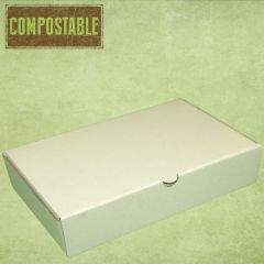 Compostable White Large Corrugated Fish & Chip Takeaway Food Box 318x155x48mm