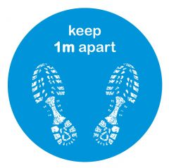 Anti-Slip 'Keep 1m Apart' Blue Footprint Floor Sticker 300mm Diameter