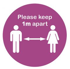 Anti-Slip ' Keep 1m Apart' Pink Social Distancing Floor Sticker 300mm Diameter