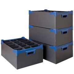 15 Compartment Black Glass Storage Container for Glasses up to 19.2cm Tall / 9.6cm Diameter