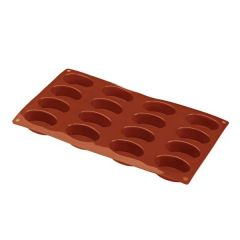 Flexible Silicone 1/3 GN 16 Oval Pastry Mould 55x35x20mm 30ml