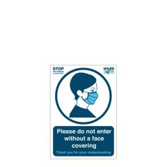 'Please do not enter without a face covering' A5 Vinyl Sticker 148x210mm
