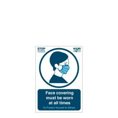 'Face covering must be worn at all times' A5 Vinyl Sticker 148x210mm