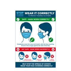 Face Covering 'Wear It Correctly' A4 Vinyl Sticker 210x297mm