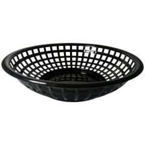 "Round Black Plastic Serving Basket 8"" / 20cm Diameter x 2.5"" / 6cm Deep"
