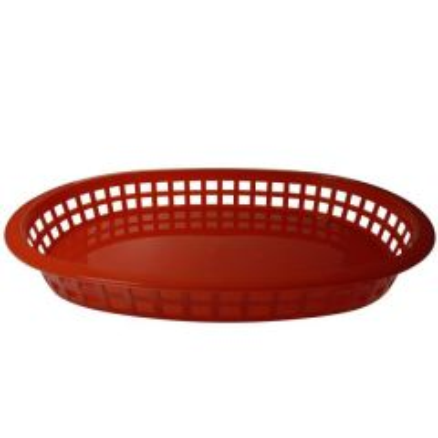 "Oval Red Plastic Chicago Platter Basket 10.5x7.5x1.75"" / 27x18x4cm"