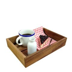"Acacia Wood Display Tray / Crate 12.5x8.5x2.25""/320x220x60mm"