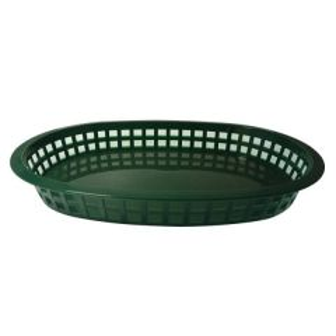 "Oval Forest Green Plastic Chicago Platter Basket 10.5x7.5x1.75"" / 27x18x4cm"
