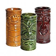 Porcelain Tiki Set Khaki, Brown And Green 8.75oz / 25cl