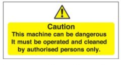 Yellow Caution This Machine Can Be Dangerous Sticker 10x20cm