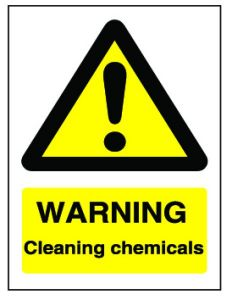 Yellow Warning Cleaning Chemicals Flexible Plastic Sign 20x15cm
