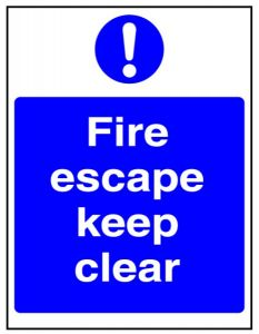 Blue Fire Escape Keep Clear Plastic Sign 15x20cm