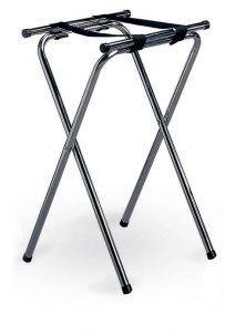 "Chrome Plated Double Bar Folding Tray Stand 19x16.5"" Top 31"" High"