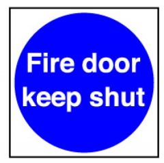 Fire Door Keep Shut Sticker 10x10cm