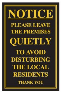 Please Leave the Premises Quietly Traditional Bar Notice 170x260mm