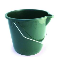 Green Coloured Plastic Bucket with Pouring Lip & Wire Handle