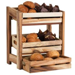 Rustic Acacia Wood Display Unit for 2 or 3 Rustic Crates 40x33.5x22.5cm