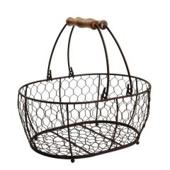 Rustic Brown Wire Small Oval Basket 204 x 145mm