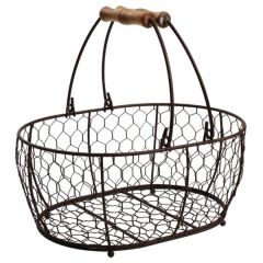 Rustic Brown Wire Large Oval Basket 295 x 215mm