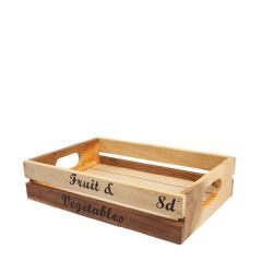 Rustic Acacia Wood Baroque Storage Crate with Fruit & Veg Text 30x21x7cm