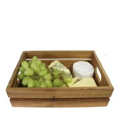 Rustic Acacia Wood Display Crate with Side Handles 30x21x7cm