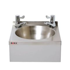 "Stainless Steel Hand Washbasin with 3"" Lever Taps 305x270x140mm"