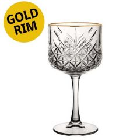 Timeless Vintage Gold Rim Gin / Cocktail Glass 19.25oz / 55cl