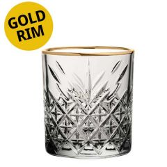 Timeless Vintage Gold Rim Double Old Fashioned Glass 12.5oz / 35.5cl