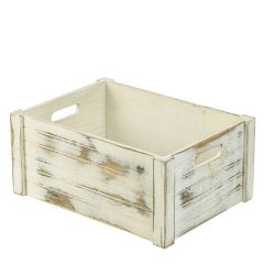"Wooden Crate Whitewash Finish 16.25x12x7"" / 41x30x18cm"