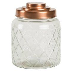 "Large Lattice Glass Jar with Copper Finish Lid 6.25x7.75"" / 16x20.5cm"