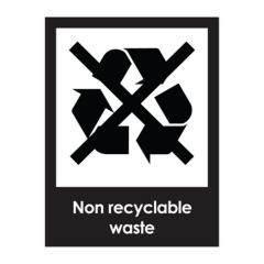 Non Recyclable Waste Recycling Sticker 200x150mm