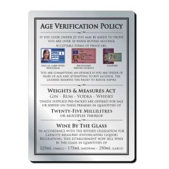 Brushed Silver Bar Signage Age Verification Policy inc 25ml Weights & Measures Act 210x297mm
