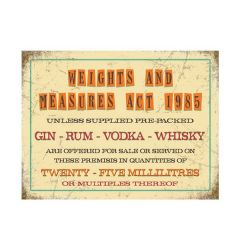 """Vintage Tinned Metal 25ml Weights And Measures Sign 6 x 8"""" / 150 x 200mm"""