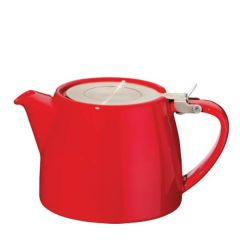 Red Ceramic Stump Teapot with Stainless Steel Lid 18oz / 51cl