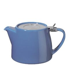 Blue Ceramic Stump Teapot with Stainless Steel Lid 18oz / 51cl