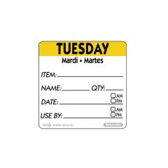 "Tuesday Trilingual Day Of The Week Label 2x2"" / 50x50mm"