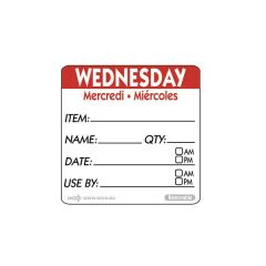 "Wednesday Trilingual Day Of The Week Label 2x2"" / 50x50mm"