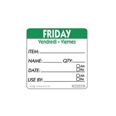 "Friday Trilingual Day Of The Week Label 2x2"" / 50x50mm"
