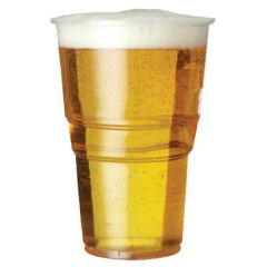 Plastico Disposable Plastic Pint Glass 21.5oz / 61cl CE Lined @ 20oz (Pint)