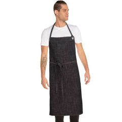 "Chef Works Corvallis Crosshatch Chefs Bib Apron Black / Burgundy 40"" L x 39"" W"