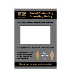 A4 Anti Tear Waterproof Poster Social Distancing Policy Max Persons Allowed In Premises