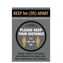 A4 Anti Tear Waterproof Poster Social Distancing Poster Keep 1M/3Ft Apart Keep Your Distance Graphic