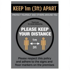A3 Anti Tear Waterproof Poster Social Distancing Poster Keep 1M/3Ft Apart Keep Your Distance Graphic