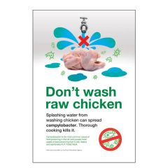 Don't Wash Raw Chicken Sticker 30x20cm