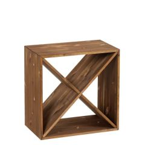 Wooden 12 Bottle Wine Storage Cube Dark Oak Finish 395 x 395 x 300mm